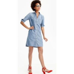 J. Crew Chambray Shirtdress long-sleeve G1260 XXS